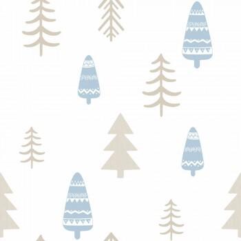 Tapete Bäume Wald Hellblau