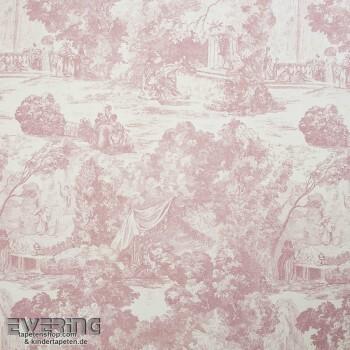 36-CHT22894116 Casadeco - Chantilly alt-rosa Stoff Toile de Jouy