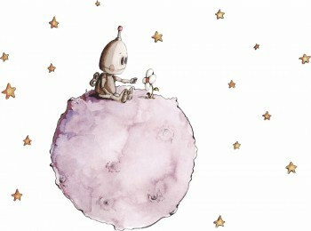 Rosa Planet Sterne Wandsticker