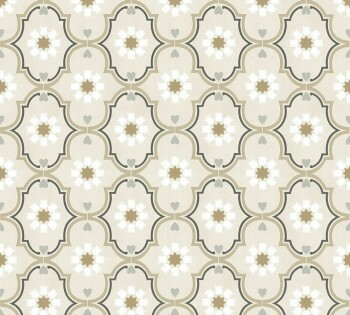 Beige Braun Ornament-Tapete Vlies