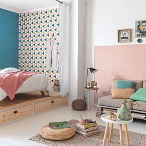 jugendzimmer-teenie-mustertapete-grafisch-rosa-blau-weiss-texdecor-caselio-tonic