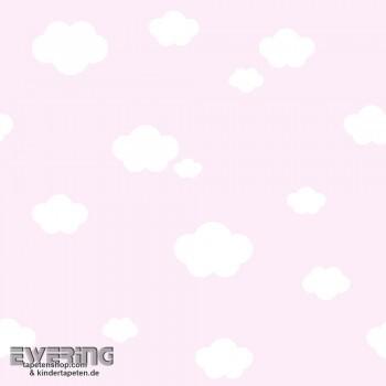 Rosa Wolken-Tapete Babyzimmer _L