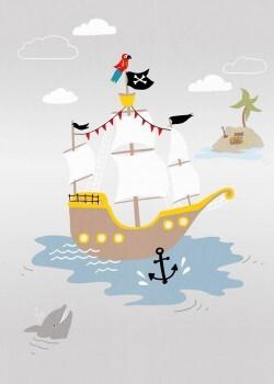 Wandbild Großes Piratenschiff Grau