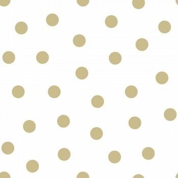 Tapete Weiß Goldene Punkte