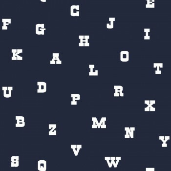 Tapete Dunkel-Blau Buchstaben