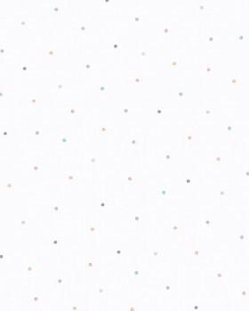 Vliestapete Weiß Punkte Blau Orange