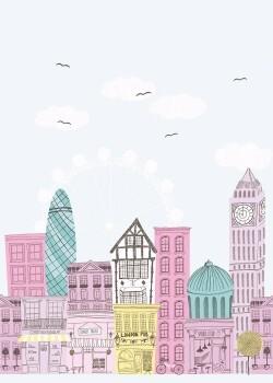 Rosa Wandbild Stadtmotiv