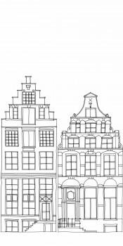 Wandbild Häuserreihe Grau