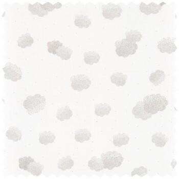 Dekostoff Wolken Weiß Silber Glitzercaselio