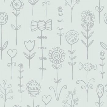 Tapete Mint-Grün Silber Blumenmotive Candy