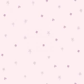 Tapete Vlies Kleine Kleeblätter Rosa