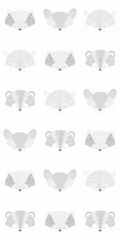 Wandbild Fuchs Waschbären Grau