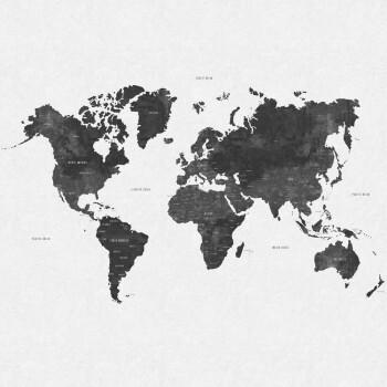 Fototapete Weiß Grau Weltkarte