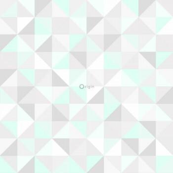 Mint Grau Dreieck Vlies Tapete Glanz