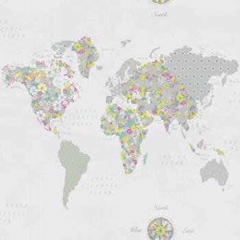 Grün Papiertapete Weltkarte