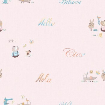 Tapete Papier Tiere Schriftzüge Rosa Ohlala 335320