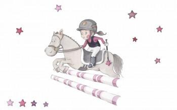 Pferd Rosa Sticker Springreiten