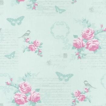 Vliestapete Mint Blumen Vögel