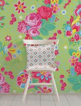 Wandbild Große Blumen Apfel-Grün