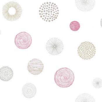 Papiertapete Pink Kreise