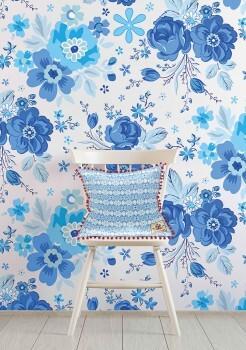 Wandbild Weiß Blau Große Blumen