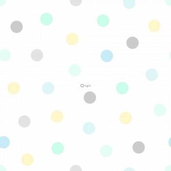 Grün Blau Gelb Vliestapete Punkte