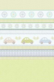Wandbild Patchwork Grün Autos