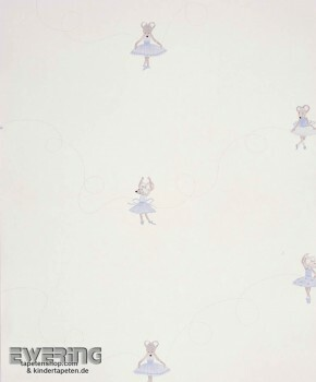 Creme-Weiß Maus-Ballerina Papiertapete