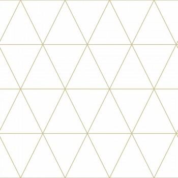 Tapete Grafische Dreiecke Gold Creme