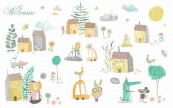Sticker Klein Bunte Häuser Tiere Ohlala 365210