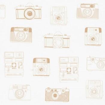 Vliestapete Weiß Kupfer Glanz Kamera