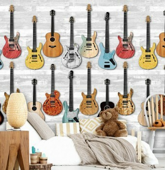Wandbild Weiß-Grau Bunte Gitarren