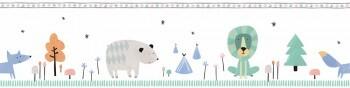 Selbstklebende Borte Wald Tiere Weiß Bunt Ohlala 345010
