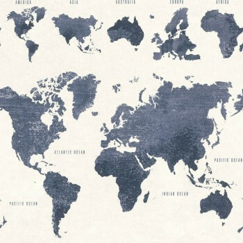 Tapete Weltkarte Blau