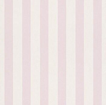 Papiertapete Streifen Rosa Weiß Mädchen
