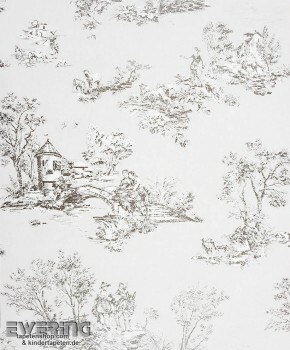 Casadeco - Chantilly 36-CHT22919122 Toile de Jouy hellgrau Tapete