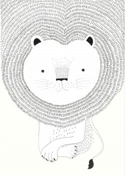 Weiß Wandbild Löwe Mähne Vlies