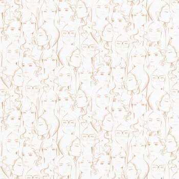 Kupfer Creme-Weiß Vliestapete Portraits