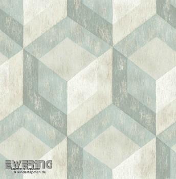 Rasch Textil Reclaimed 23-022310 Mustertapete Vlies türkis grau