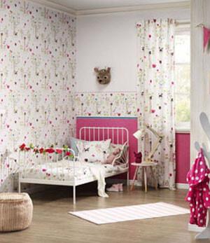 maedchenzimmmer-pink-weiss-rasch-bambino-waldmotiv-tiere