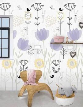 Wandbild Garten Tiere Grau Lila