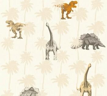 Vliestapete Hell-Beige Dinosaurier