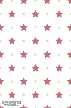 Sterne Rot Beige Papiertapete
