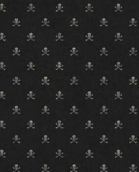 Totenkopf Tapete Schwarz Grau