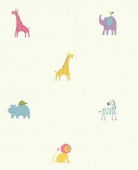 Zoo-Tiere Kinderzimmer Bunt Weiß