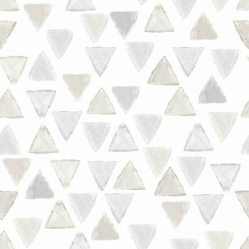 Tapete Vlies Weiß Dreiecke Beige Grau