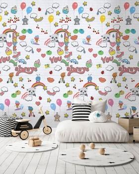 Wandbild Bunte Motive Weiß