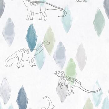 Wandbild Kleine Dinosaurier Weiß