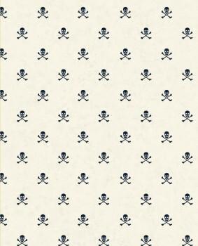 Papiertapete Piraten Totenköpfe Blau Cream