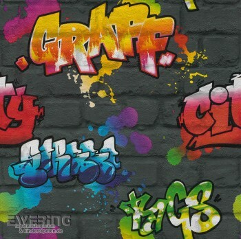 Schwarz Papiertapete Graffiti